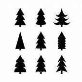 Simple Silhouettes Of Christmas Trees poster