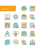 Leadership And Management Line Icons poster