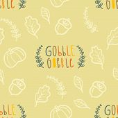 Autumn seamless vector pattern with hand lettering Gobble Gobble poster