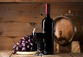 pic of grape  - Wine bottle with glass - JPG