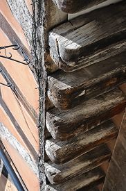 pic of timber  - Timber beams on an old timber framed buildings along Spon Street Coventry West Midlands England UK Western Europe. ** Note: Soft Focus at 100%, best at smaller sizes - JPG