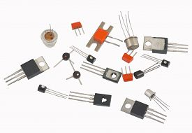 image of transistors  - transistors different type on a white background - JPG