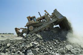 picture of bulldozers  - Bulldozer Dozer Machine Earthmoving Vehicle in Dynamic Action - JPG