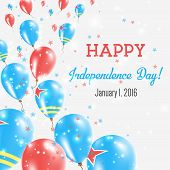 Постер, плакат: Aruba Independence Day Greeting Card Flying Balloons In Aruba National Colors Happy Independence D