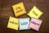 vital energy concept - food, exercise, mindset and sleep handwritten on colorful sticky notes agains poster