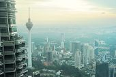 stock photo of petronas twin towers  - Aeial view of Kuala Lumpur from Petronas Twin Tower at sunset - JPG