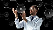 science, future technology and chemistry concept - male doctor or scientist in white lab coat and sa poster