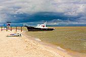 pic of azov  - Small ship near the beach - JPG