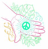 Hand With The Symbol Of Peace poster