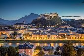 Historic City Of Salzburg At Dusk, Salzburger Land, Austria poster