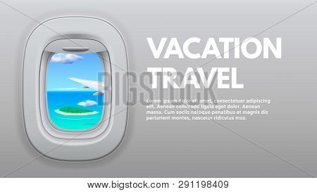 poster of Airplane Porthole View. Travel Aircraft Wing In Window, Traveler Air Plane And Vacation Traveling Co