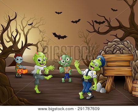 Halloween Zombie Walking In The