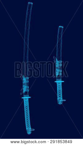 Samurai Swords Wireframe Of The