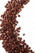 stock photo of coffee crop  - coffee beans closeup on a white background - JPG
