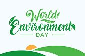 Letter World Environment Day With Hill On The White Background. World Environment Day Element Design poster