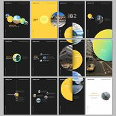 Minimal Brochure Templates With Colorful Gradient Shapes, Circles, Round Elements On Black Backgroun poster