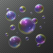 Soap Bubbles. Abstract Foam Bubble Shampoo Clear Soap Rainbow Wash Bubbling Shiny Bubbly Texture Vec poster