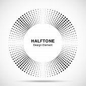 Halftone Music Circle Frame Abstract Dots Logo Emblem Design Element. Half Tone Circular Icon. Disc  poster