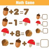 Counting Educational Children Game. Mathematics Activity For Kids And Toddlers. Solve Equation. Stud poster