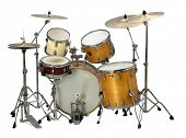 picture of drum-kit  - stock image of the musical instrument drum set - JPG