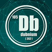 Dubnium Chemical Element. Sign With Atomic Number And Atomic Weight. Chemical Element Of Periodic Ta poster