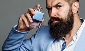Fashion Cologne Bottle. Bearded Male Prefers Expensive Fragrance Smell. Man Perfume, Fragrance. Male poster