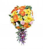 Spherical Shape Flowers Bouquet With Appendage Isolated On White Background, Beautiful Florist Desig poster