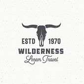Wilderness Abstract Vector Sign, Symbol Or Logo Template. Bull Or Cow Skull With Horns And Retro Typ poster