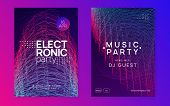 Music Fest. Creative Concert Magazine Set. Dynamic Gradient Shape And Line. Music Fest Neon Flyer. E poster