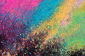 An Explosion Of Colorful Pigment Powder On Black Background. Vibrant Color Dust Particles Textured B poster