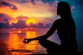Woman Meditating, Relaxing In Yoga Pose At Sunset, Zen Meditation poster