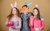 Group Kids Bunny Ears Accessory Celebrate Easter. Easter Activity And Fun. Friends Having Fun Togeth poster