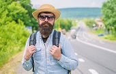 Look For Fellow Travelers. Tips Of Experienced Backpacker. Man Bearded Hipster Backpacker At Edge Of poster