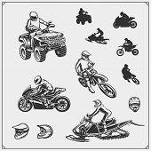 Set Of Motor Sport, Snowmobile, Quad Bike Illustrations. Motocross Jumping Riders, Moto Trial, Frees poster