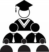 Education Knowledge Learning Study Abroad International Ideas. People Sign Flat Icon Vector With Gra poster