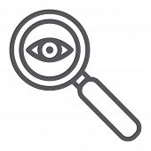Observation Line Icon, Surveillance And Lens, Eye And Magnifier Sign, Vector Graphics, A Linear Patt poster