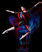 one caucasian woman ballerina classical ballet dancer dancing woman studio shot isolated on black ba poster