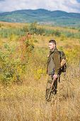Hunting Season. Guy Hunting Nature Environment. Masculine Hobby Activity. Hunting Weapon Gun Or Rifl poster