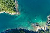 Drone View Top View Landscape Nature Scenery View Of Beautiful Tropical Sea With Sea Coast View In S poster