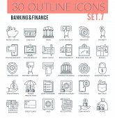 Set Of Outline Icons On Following Themes - Business, Finance, Banking, Internet Banking And Other. E poster