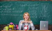School. Home Schooling. Happy Woman. Back To School. Teachers Day. Woman In Classroom. Teacher With  poster