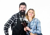 Tools For Roasting Meat Outdoors. Picnic And Barbecue. Culinary Concept. Man Bearded Hipster And Gir poster