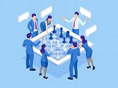 Business Strategy Concept. Isometric Businessmen And Women Playing Chess Game Reaching To Plan Strat poster