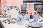 Dishes Tableware Supermarket Variety.department Store. Porcelain, Dishes. Pastel Colors For Plates A poster