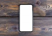 Smartphone With Blank Screen Mock Up. Smartphone Isolated Screen With Clipping Path. Mobile Phone Wh poster