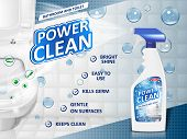 Bathroom Cleaners Ad Poster, Spray Bottle Mockup With Detergent For Bathroom Sink And Toilet With Bu poster