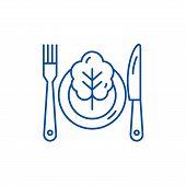Vegetarian Menu Line Icon Concept. Vegetarian Menu Flat  Vector Symbol, Sign, Outline Illustration. poster