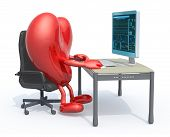 Heart With Arms And Legs Seating Working On Desk With Computer For Cardiogram, 3d Illustration poster