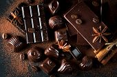 Assortment Of Dark, White And Milk Chocolate Stack, Chips. Chocolate And Coffee Beans On Rustic Wood poster