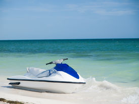 pic of waverunner  - Blue and white wave runner on the Caribbean Beach - JPG